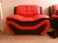 Red and black modern leather chairs never used Las Vegas, 89121
