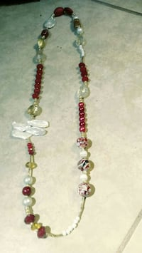 red and pearl necklace