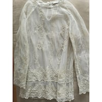 Sheer Lace Blouse CoverUp Top creme M    Burnaby