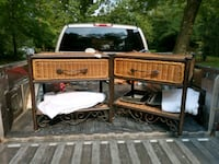 Wicker draws(end tables) with glass tops 167 mi