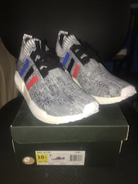 Gray multi colored striped adidas nmd shoes Coral Springs, 33065