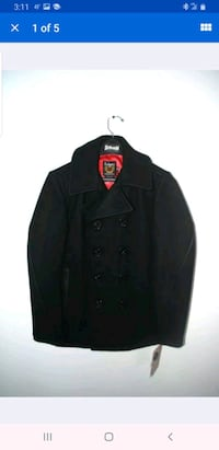 Schott NYC pea coat leather accents, slim fit Large Chicago, 60602