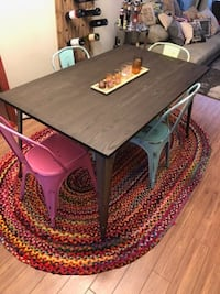 Dining table and 4 teal chairs  Chestermere