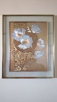 white and brown flowers painting Toronto, M9A 4M6