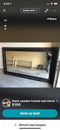Brown wooden framed wall mirror 4' tall x 7' ft wide  Waldorf