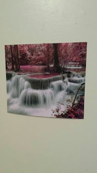 waterfalls surround by pink leaf trees painting