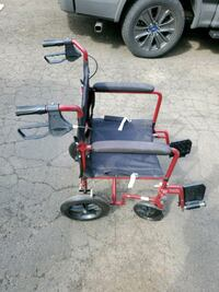 "Medline Aluminum Transport Chair with 12"" Wheels , red Stamford"