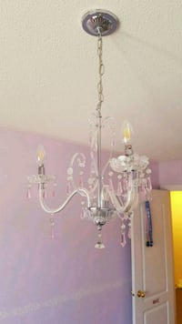 Chandelier with pink accent crystals