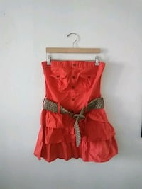 Strapless Orenge dress with belt