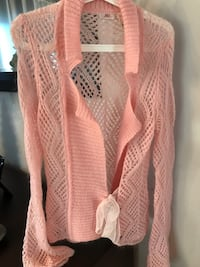 Pink knitted long sleeve cardigan