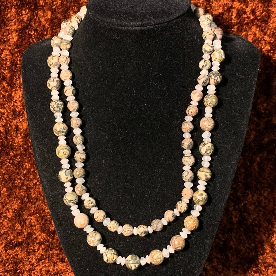 Genuine Agate Beaded Necklace with Sterling Silver Clasp a90ddf6e-c457-4d5d-9f54-67d3e1c5f360