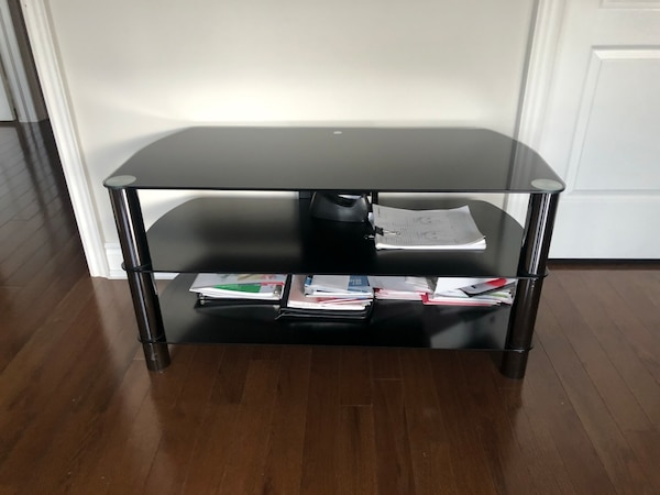 Black Glass Table! TV Table for All Size TVs! 2e83bfed-6fb3-45ca-ba44-a0c360d5c771
