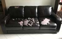 Brown faux leather 3 seater  Laval, H7M 2E8