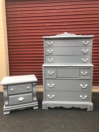 Solid Wood 6 Drawer Tallboy Dresser With Nightstand Gray With White Handles  Woodbridge, 22192