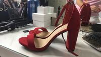 pair of red suede ankle-strap chunky-heeled sandals Vaughan, L4H 2L2