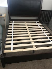 Cherry wood and leather Queen Bed frame with 4 drawers $200 Gilbert, 85298