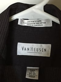 Van Heusen Men's Wrinkle Free Black Striped Dress Shirt Alexandria, 22303