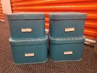 4 Turquoise Oskar Storage Boxes with Lids - Contai New York
