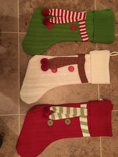 green, white and red Christmas Stockings