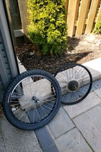 two black bicycle wheels with tires Mississauga, L5A 2A4