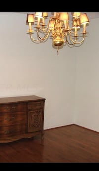 Queen Anne style chandelier with gold fixtures and mini black lamp shades Worthington, 43085