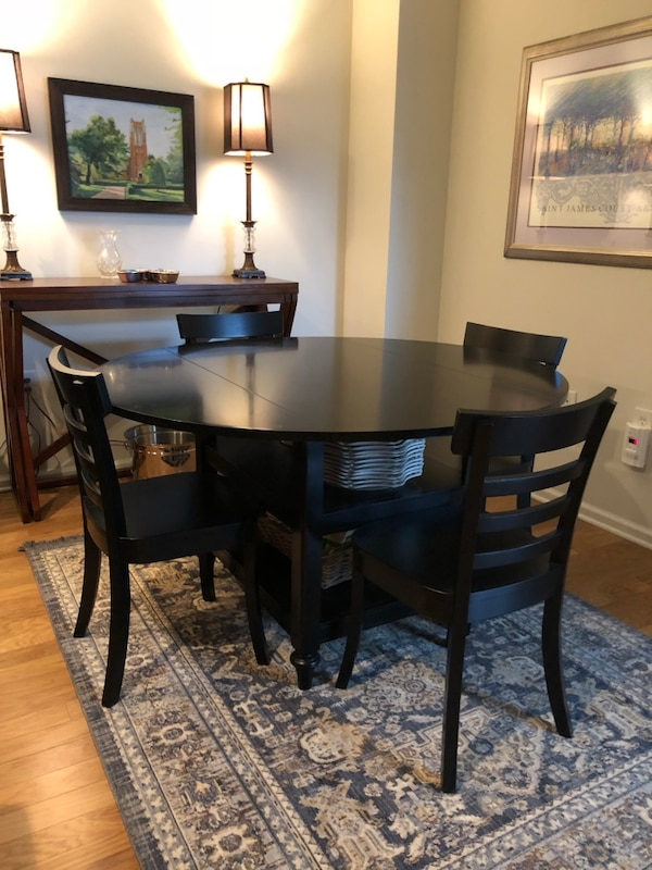 Pottery Barn Black Wooden Table With Four Chairs Dining Set