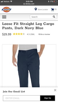 Dickies Cargo Pants, Relaxed Fit, Straight Leg 34x30 Bowie, 20716