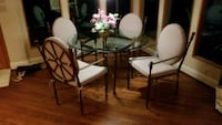 round glass top table with four chairs dining set Herndon, 20171