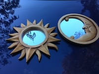 two round brown wooden framed mirrors Hastings On Hudson, 10706