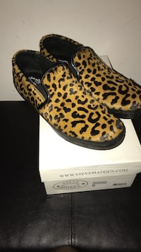 brown-and-black Leopard Steve Madden smoking loafers