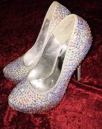 silver and gemstone embed platform pumps Manassas, 20110