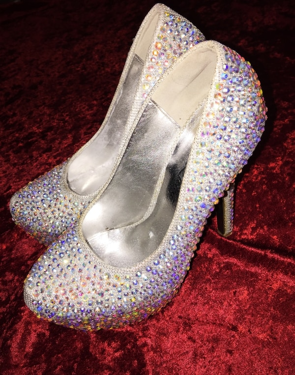 silver and gemstone embed platform pumps