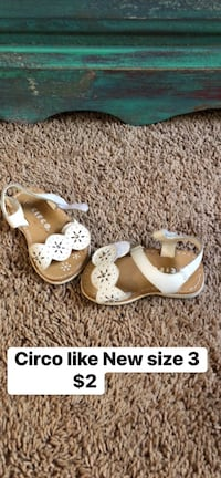 pair of white-and-brown leather sandals Benton, 72019
