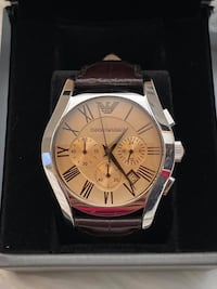 Emporio Armani Men's Chronograph Amber Dial Brown Leather Watch