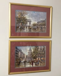 Framed and matted French prints