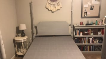Full sized bed frame, mattress and box spring