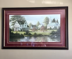 Framed picture of painting by Bill Saunders