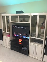 Tv crystal mount table and white wooden entertainment center(tv not included)