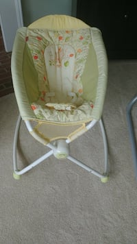 baby's white and green bouncer