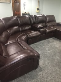 Brown leather reclining sectional  Ashburn, 20147