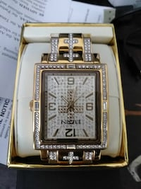 square gold analog watch with link bracelet West Palm Beach, 33401