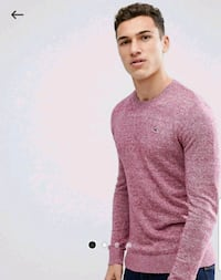 Hollister Icon Logo Crewneck Knit Sweater In Purple