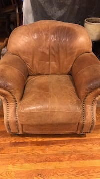 brown leather sofa chair with ottoman Laurel, 20708