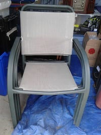 brown wooden framed white padded armchair Oshawa, L1J