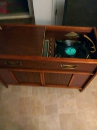 brown wooden record player Lithonia, 30038
