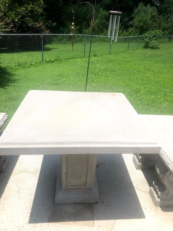 Outdoor Concrete Table and Bench Patio Set 90629ed7-c3fe-4065-a7d4-f06feae4d482