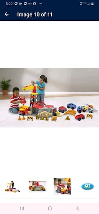 Kids crain and bridge with  Tractor trailer and cars