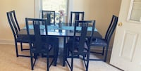 Wood dining room table and 6 chair