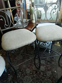 two black metal framed white padded chairs Odenton, 21113