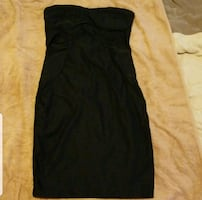 women's black strapless dress